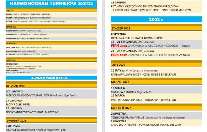HARMONOGRAM TURNIEJÓW NA 2021-22, Akademia Tenisa Chełmiec - Janusz Stanek, tenis ziemny, korty tenisowe, tenis Nowy Sącz